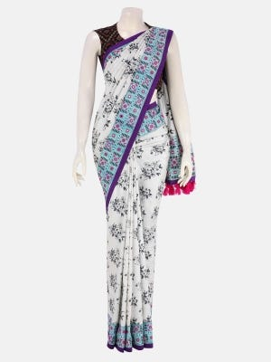 White Brush Painted and Embroidered Silk Saree