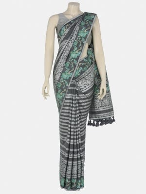 Charcoal Grey Printed and Nakshi Kantha Embroidered Silk Saree