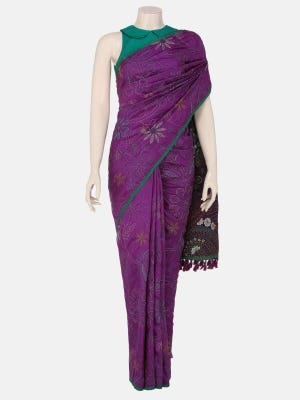 Purple Nakshi Kantha Embroidered Silk Saree