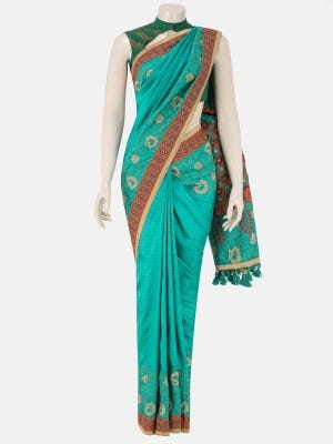 Teal Nakshi Kantha Embroidered Silk Saree