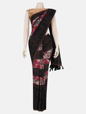 Multicolour Printed and Embroidered Silk Saree