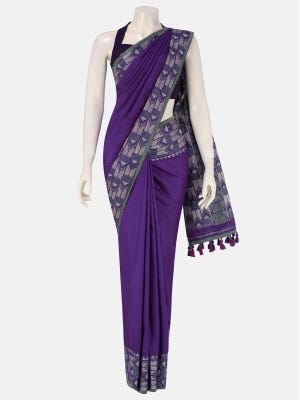 Purple Embroidered and Appliqued Silk Saree