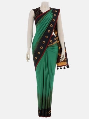 Green Tie-Dyed and Printed Silk Saree