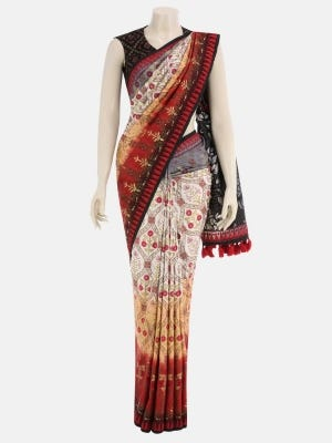 Red Dyed and Printed Silk Saree
