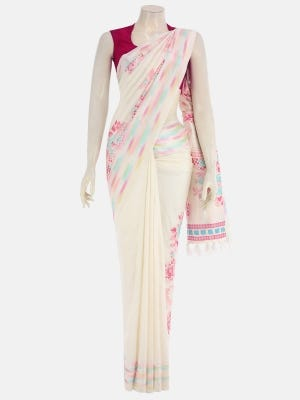 Ivory Printed and Appliqued Silk Saree