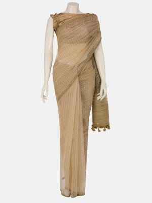 Golden Printed and Embroidered Endi Muslin Saree