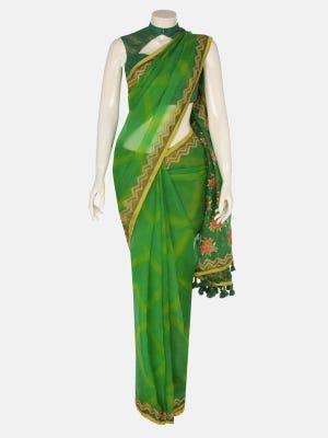 Green Appliqued and Embroidered Muslin Saree
