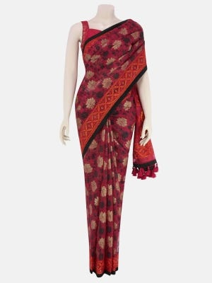Red Printed and Embroidered Muslin Saree