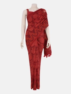 Red Embroidered Muslin Saree