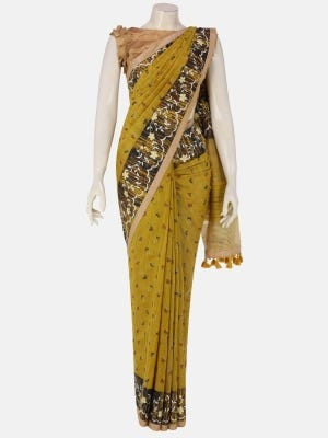 Yellow Ochre Printed and Embroidered Endi Muslin Saree