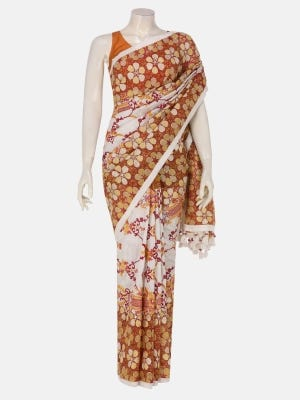 White Printed and Embroidered Muslin and Silk Saree