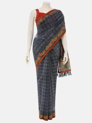 Charcoal Grey Printed and Embroidered Muslin Saree