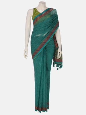 Teal Brush Painted and Appliqued Muslin Saree