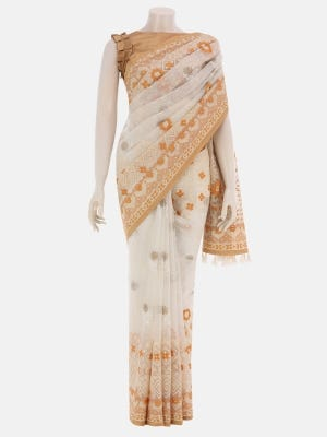 Beige Printed and Embroidered Muslin Saree