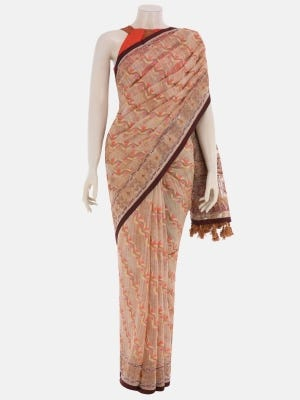 Light Brown Brush Painted and Nakshi Kantha Embroidered Muslin Saree