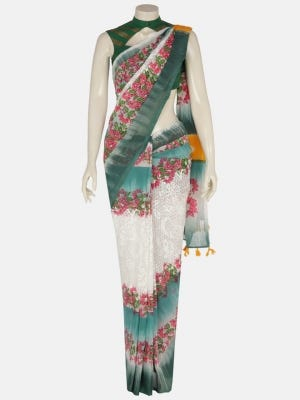 Ivory Tie-Dyed Printed and Painted Cotton Saree