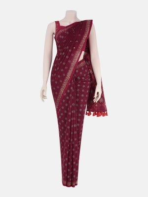 Maroon Printed and Embroidered Cotton Saree