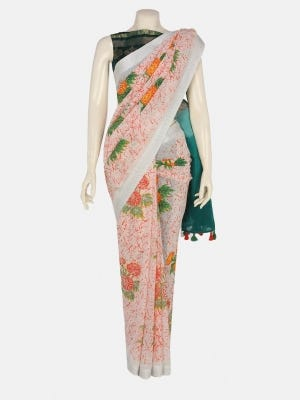 White Tie-Dyed and Printed Cotton Saree