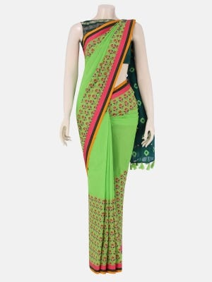 Lime Green Printed and Tie-Dyed Cotton Saree