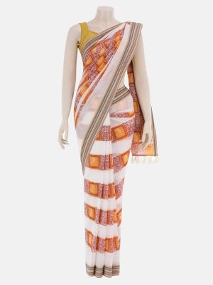 White Printed and Embroidered Cotton Saree
