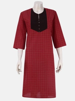 Maroon Check Handloom Cotton Fitted Panjabi