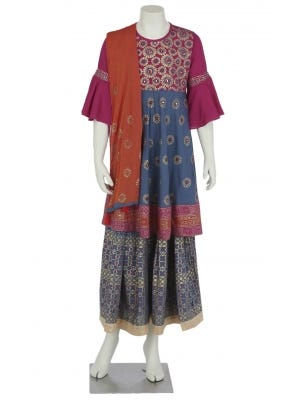 Blue-Grey Printed and Embroidered Linen Ghagra Choli Set
