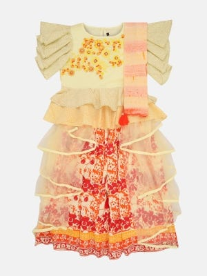 Light Yellow Printed and Embroidered Linen long Gown
