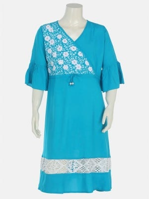 Aqua Printed and Embroidered Linen Frock