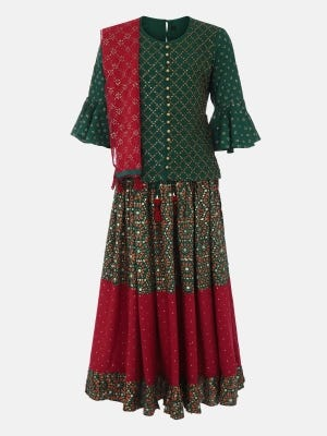 Green Printed and Embroidered Linen Ghagra Choli