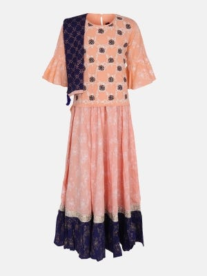 Peach Printed and Embroidered Linen Ghagra Choli