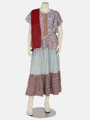Light Blue Printed and Embroidered Linen Ghagra Choli Set