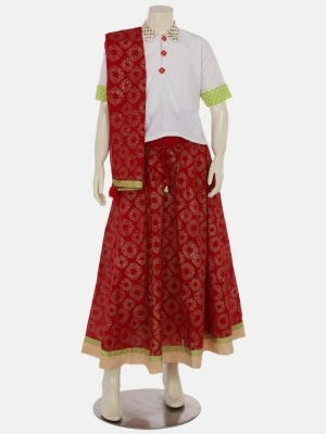 White Printed and Embroidered Voile Ghagra Choli Set