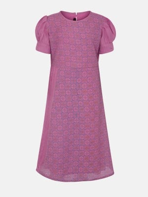 Pink Printed Mixed Cotton Frock