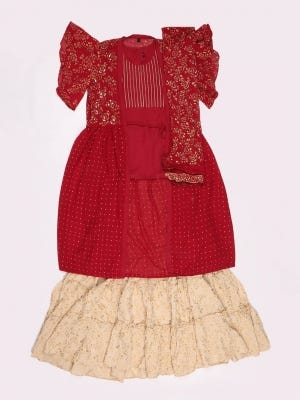 Red Printed and Embroidered Linen Ghagra Choli Set