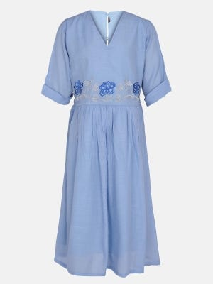 Steel Blue Embroidered Mixed Cotton Frock
