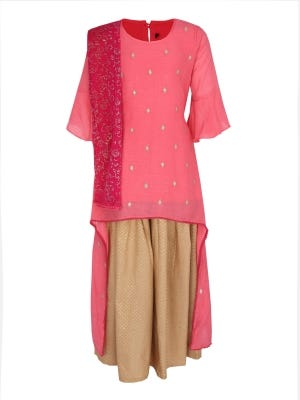 Pink Printed and Embroidered Linen Ghagra Choli Set