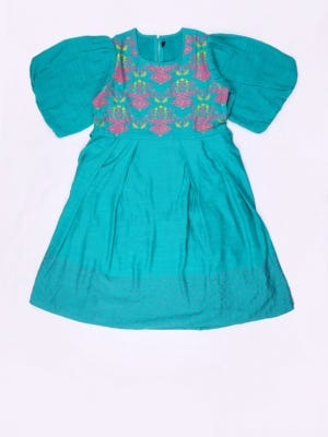 Dark Turquoise Printed Mixed Cotton Frock