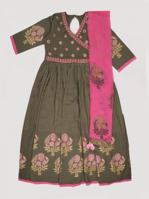 Dark Olive Printed and Embroidered Linen Ghagra Choli Set