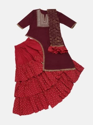 Mulberry Printed and Embroidered Linen Ghagra Choli