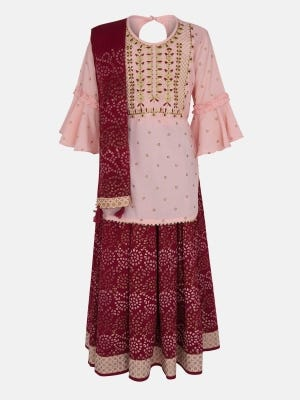 Light Peach Printed and Embroidered Linen Ghagra Choli