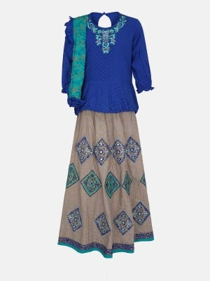 Blue Printed and Embroidered Linen Ghagra Choli