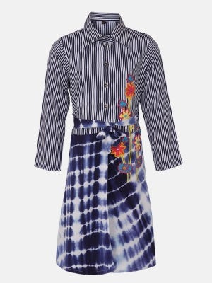 Midnight Blue Tie-Dyed and Embroidered Linen Frock