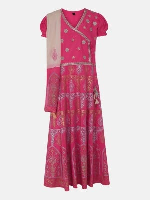 Coral Printed and Embroidered Linen Long Gown