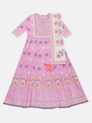 Light Pink Printed and Embroidered Voile Gown
