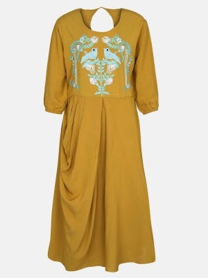 Ochre Yellow Embroidered Linen Frock