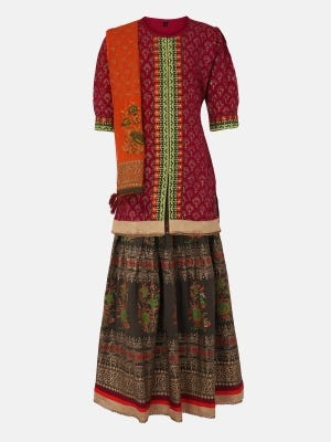 Maroon Printed and Embroidered Linen Ghagra Choli