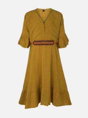 Mustard Yellow Embroidered Linen Frock
