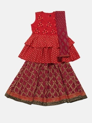 Red Printed and Embroidered Linen Ghagra Choli