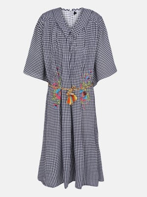 White Check Printed Mixed Cotton Frock