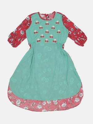 Turquoise Printed and Embroidered Linen Frock